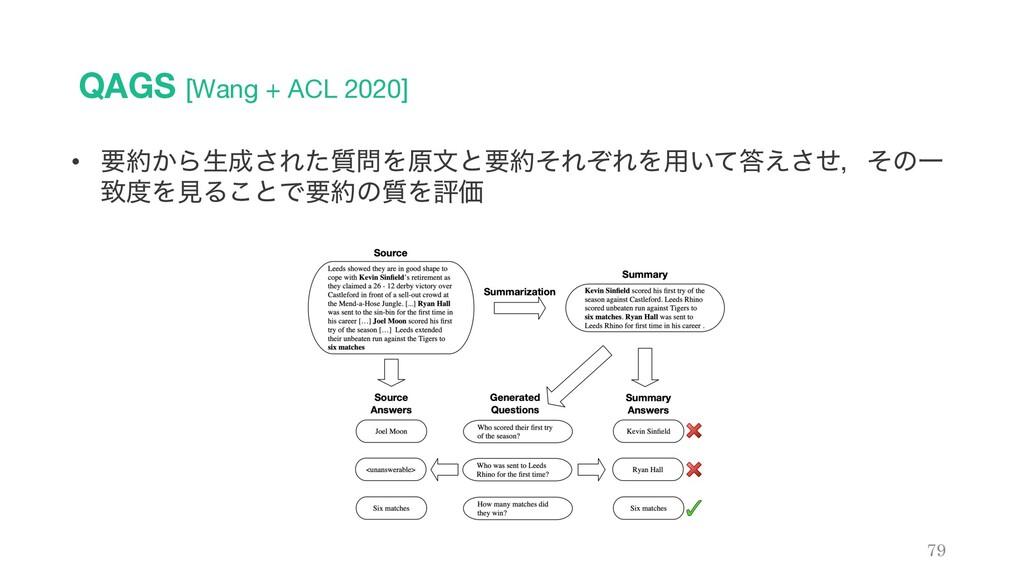 QAGS [Wang + ACL 2020] 79 • ཁ͔Βੜ͞Ε࣭ͨΛݪจͱཁͦΕ...