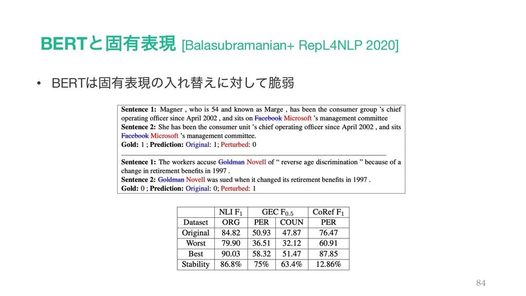 BERTͱݻ༗දݱ [Balasubramanian+ RepL4NLP 2020] 84 •...