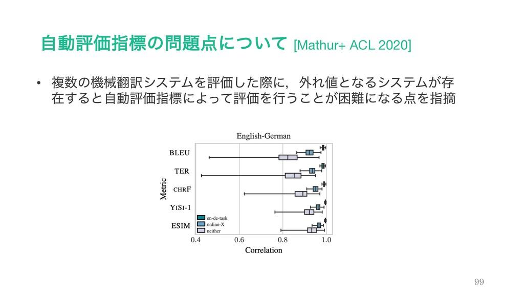 ࣗಈධՁࢦඪͷʹ͍ͭͯ [Mathur+ ACL 2020] 99 • ෳͷػց༁γ...