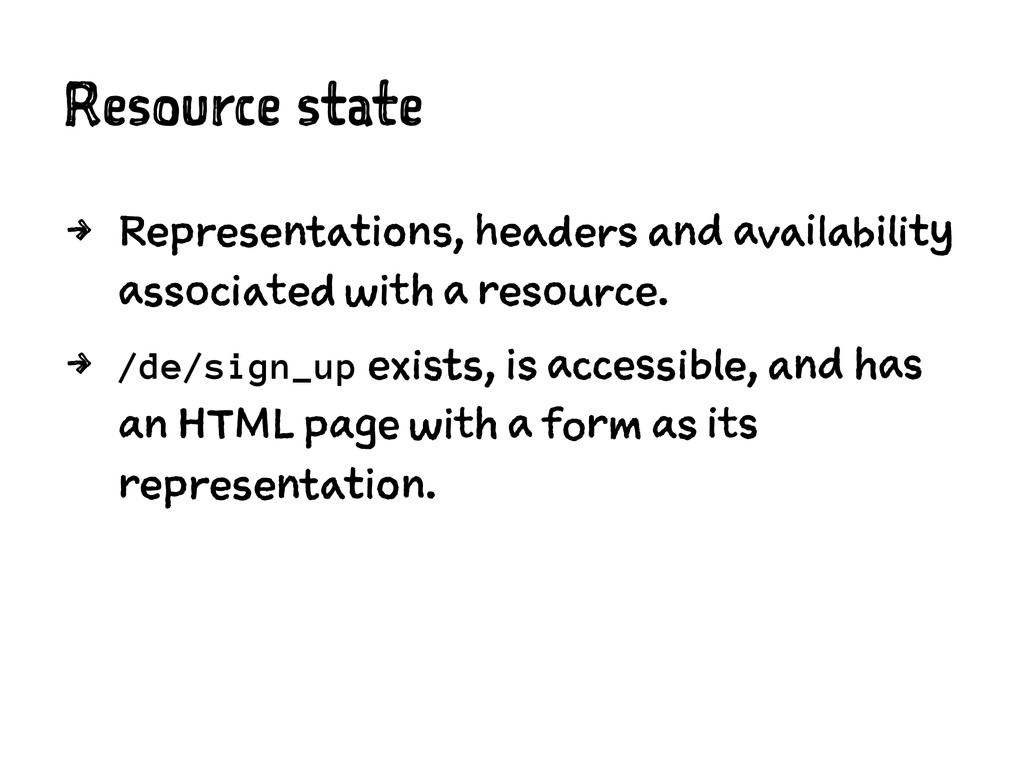 Resource state 4 Representations, headers and a...