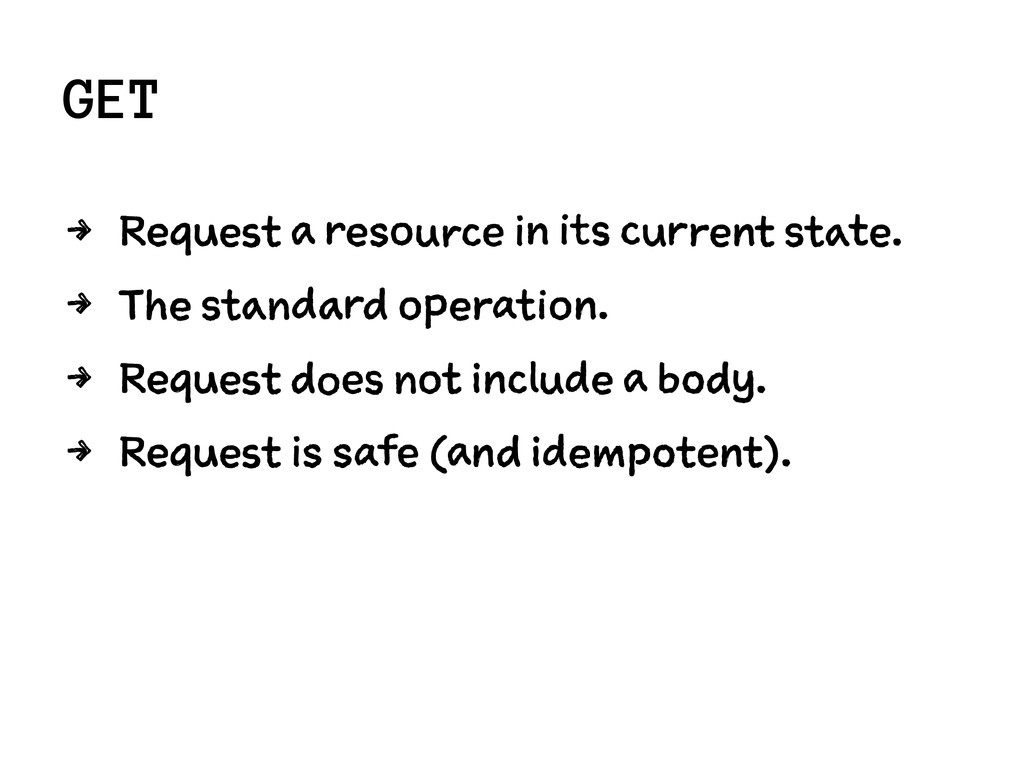 GET 4 Request a resource in its current state. ...