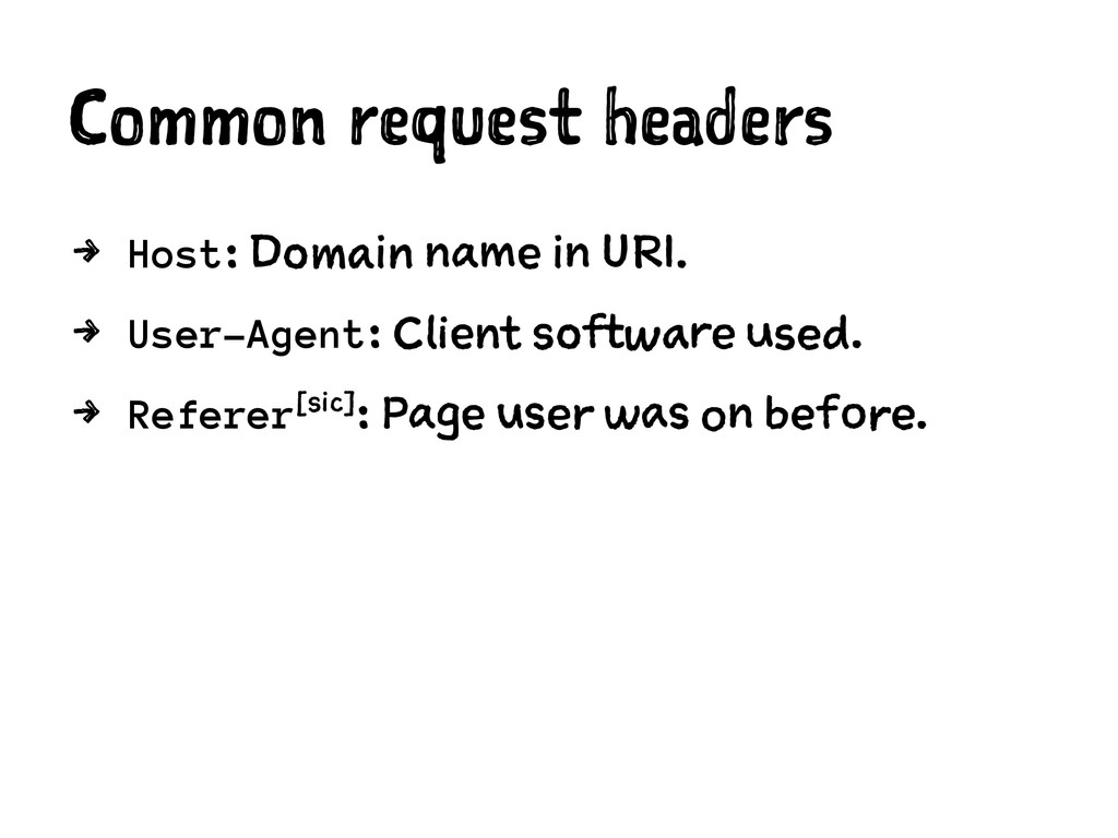Common request headers 4 Host: Domain name in U...