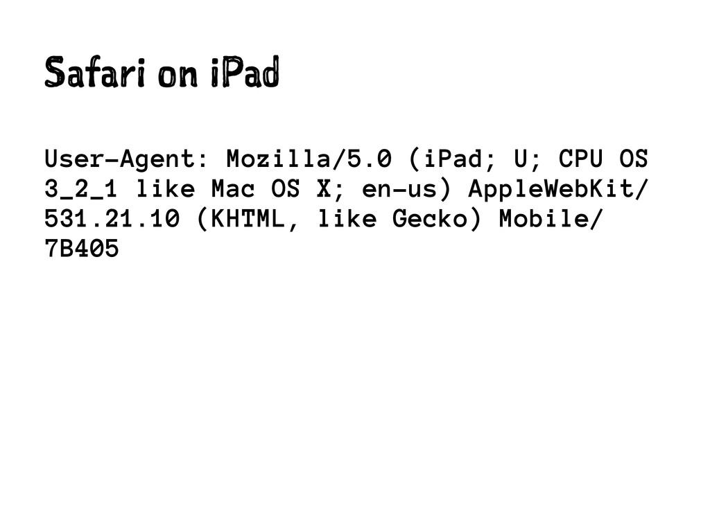Safari on iPad User-Agent: Mozilla/5.0 (iPad; U...
