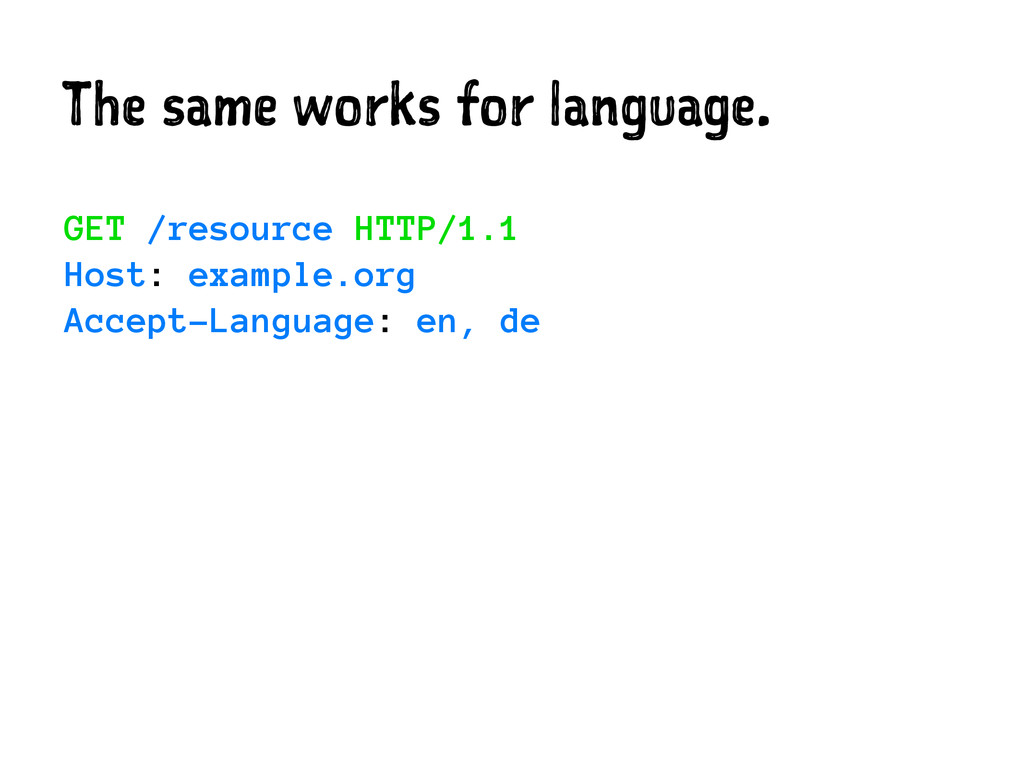 The same works for language. GET /resource HTTP...