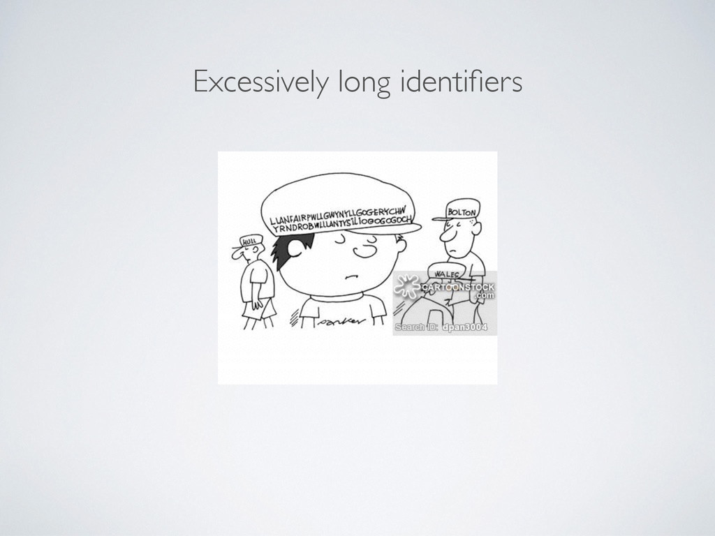 Excessively long identifiers