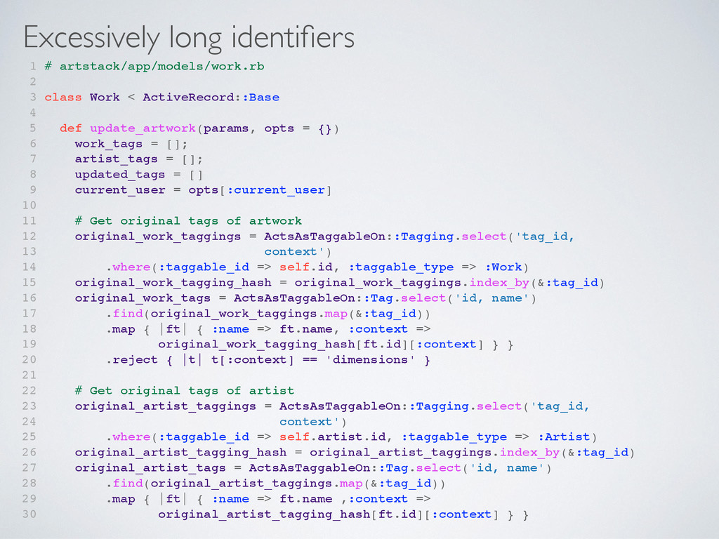 Excessively long identifiers 1 # artstack/app/mo...