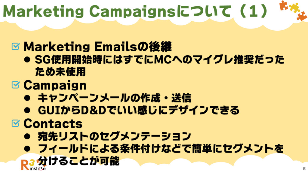 Marketing Campaignsについて(1) 6 Marketing Emailsの後...