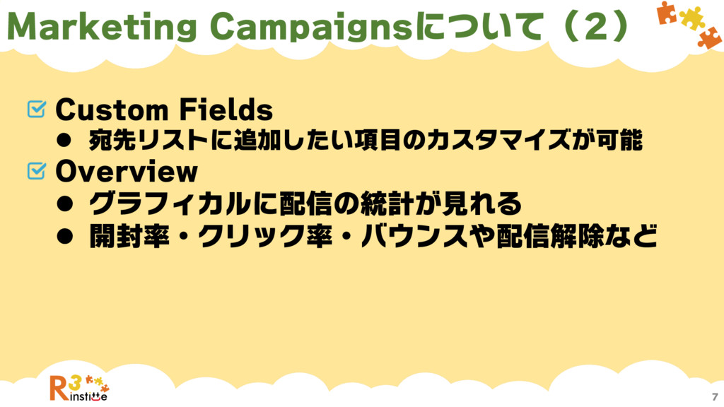Marketing Campaignsについて(2) 7 Custom Fields l 宛先...