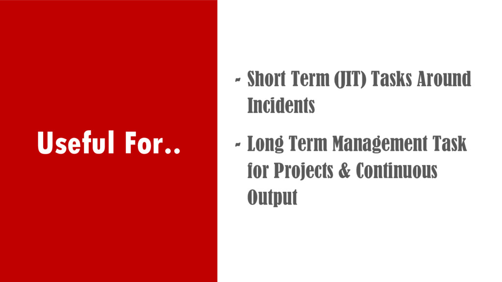 Useful For.. - Short Term (JIT) Tasks Around In...