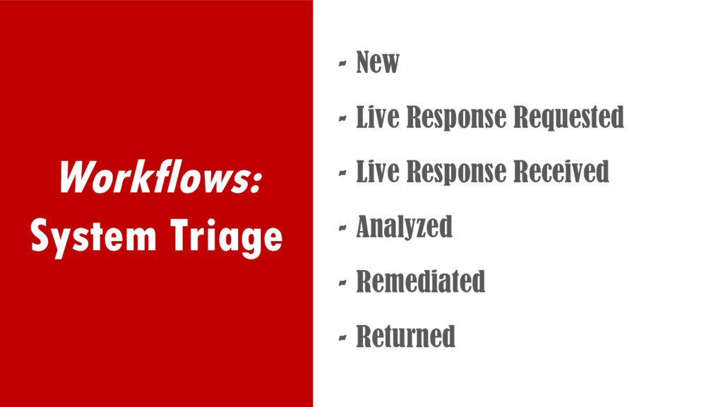 Workflows: System Triage - New - Live Response ...