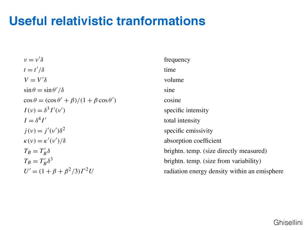 Useful relativistic tranformations Ghisellini 3...