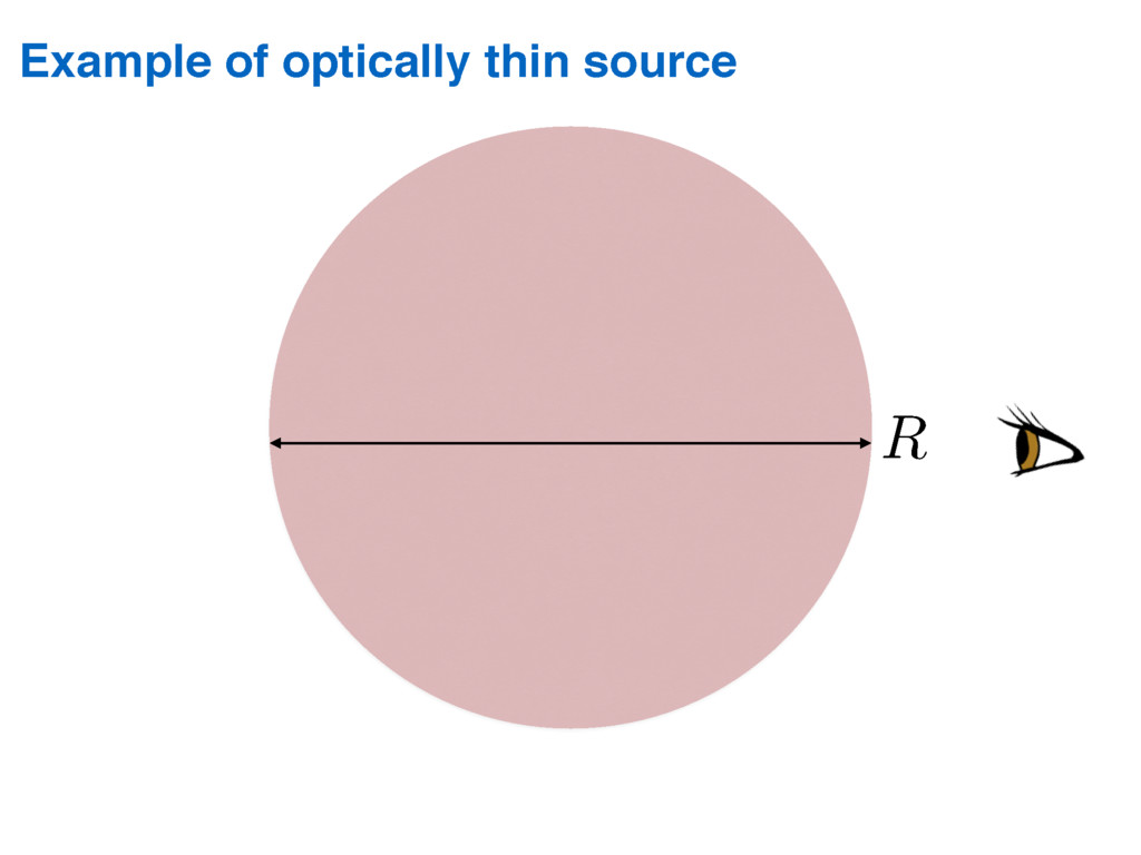 Example of optically thin source R/⌧⌫