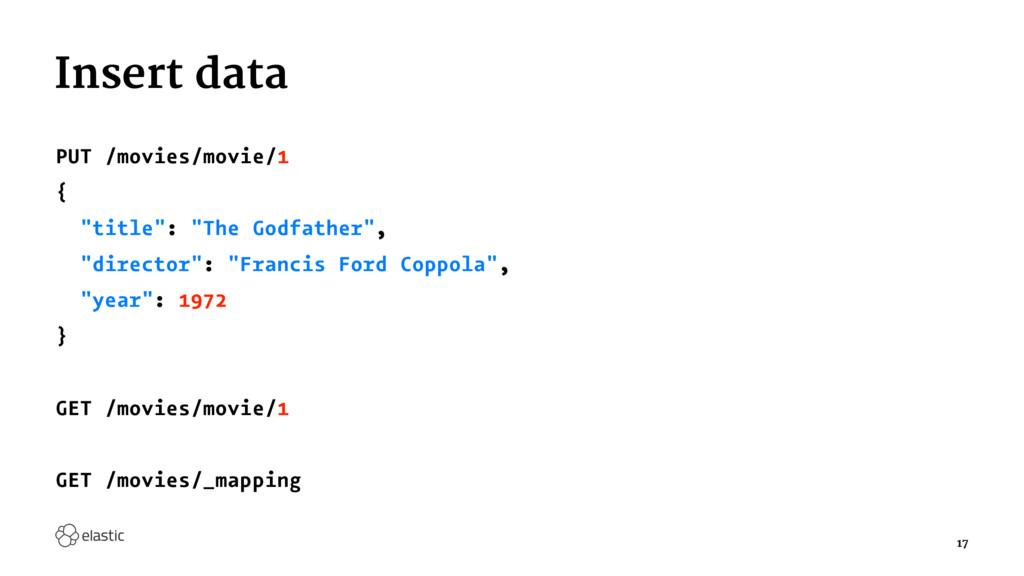 "Insert data PUT /movies/movie/1 { ""title"": ""The..."