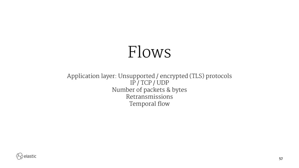 Flows Application layer: Unsupported / encrypte...