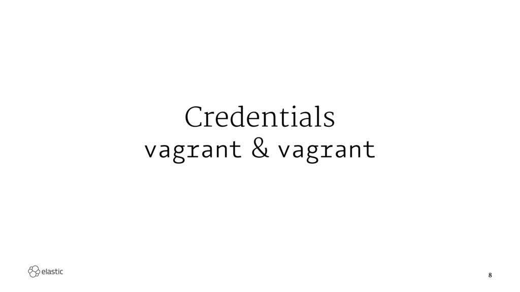 Credentials vagrant & vagrant 8