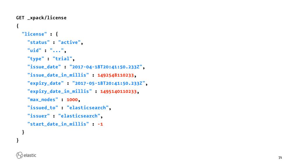 """GET _xpack/license { """"license"""" : { """"status"""" : """"..."""