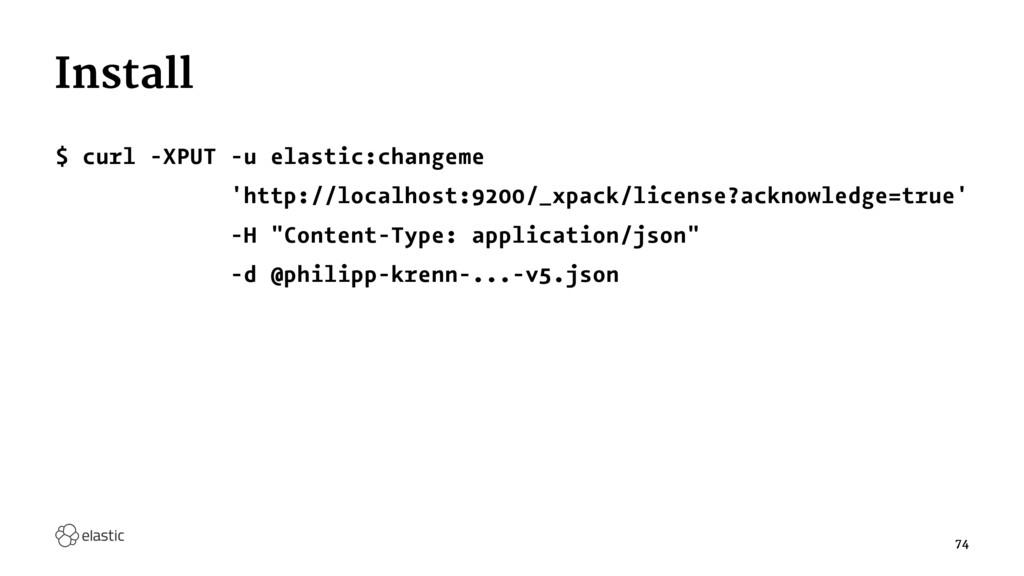 Install $ curl -XPUT -u elastic:changeme 'http:...