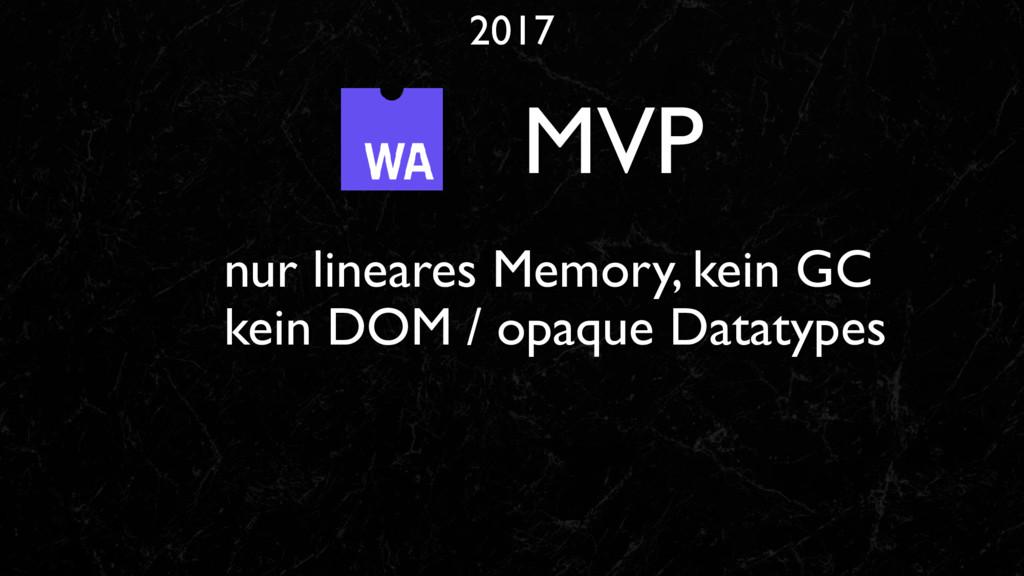 2017 MVP nur lineares Memory, kein GC kein DOM ...