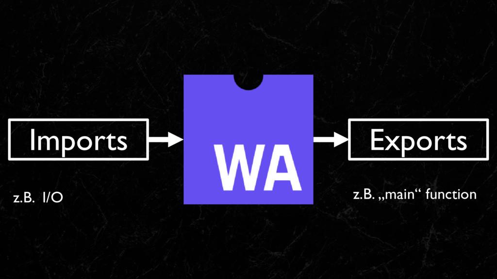 """Imports Exports z.B. """"main"""" function z.B. I/O"""