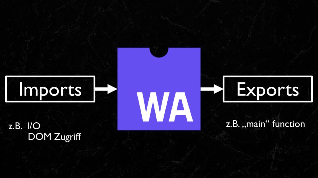 """Imports Exports z.B. """"main"""" function z.B. I/O D..."""