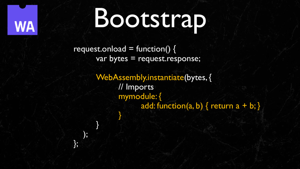 Bootstrap request.onload = function() { var byt...