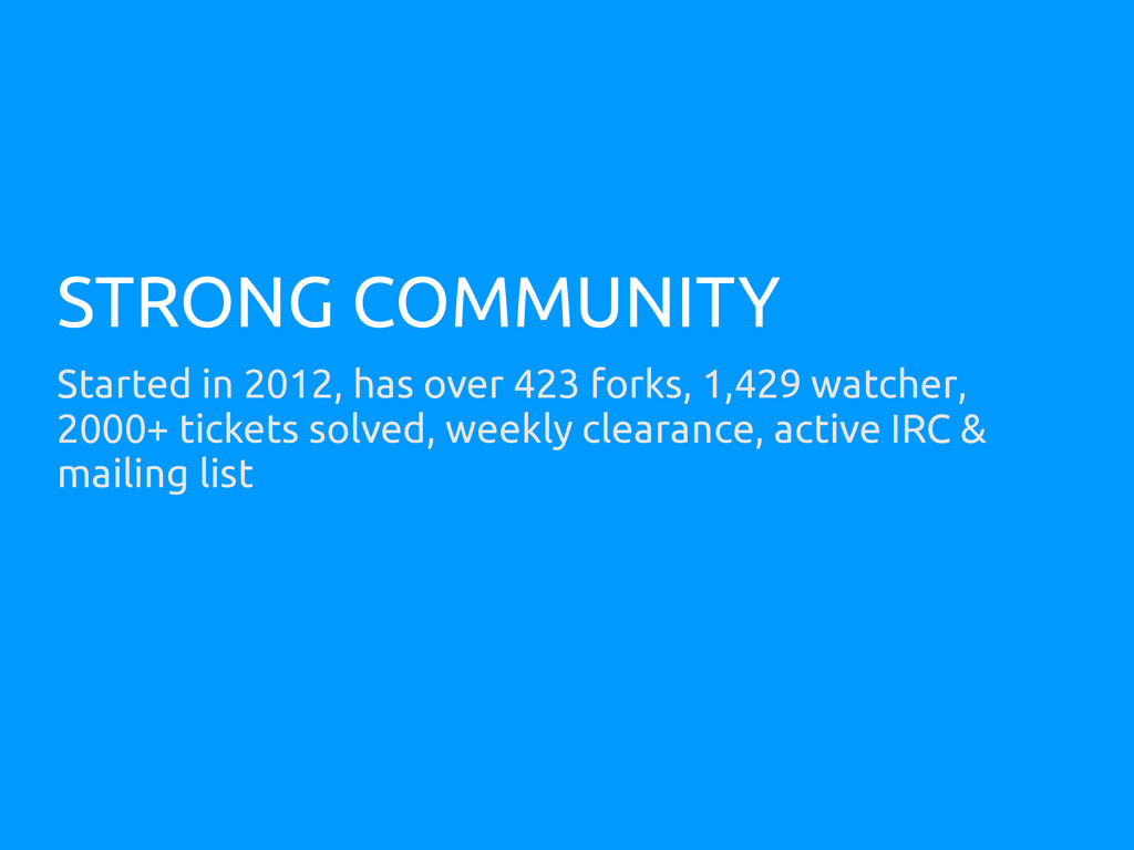 STRONG COMMUNITY Started in 2012, has over 423 ...