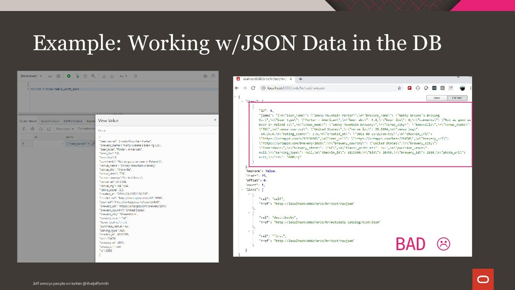 Example: Working w/JSON Data in the DB Jeff ann...
