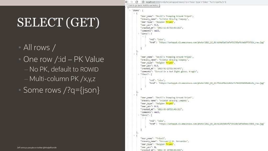 • All rows / • One row /:id – PK Value – No PK,...