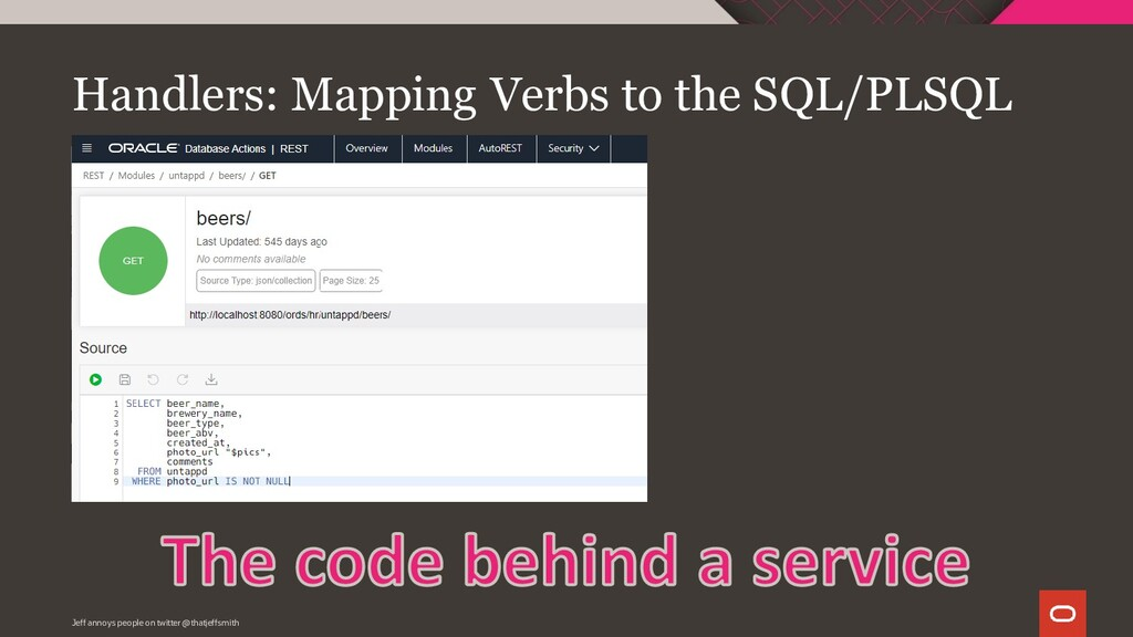 Handlers: Mapping Verbs to the SQL/PLSQL Jeff a...