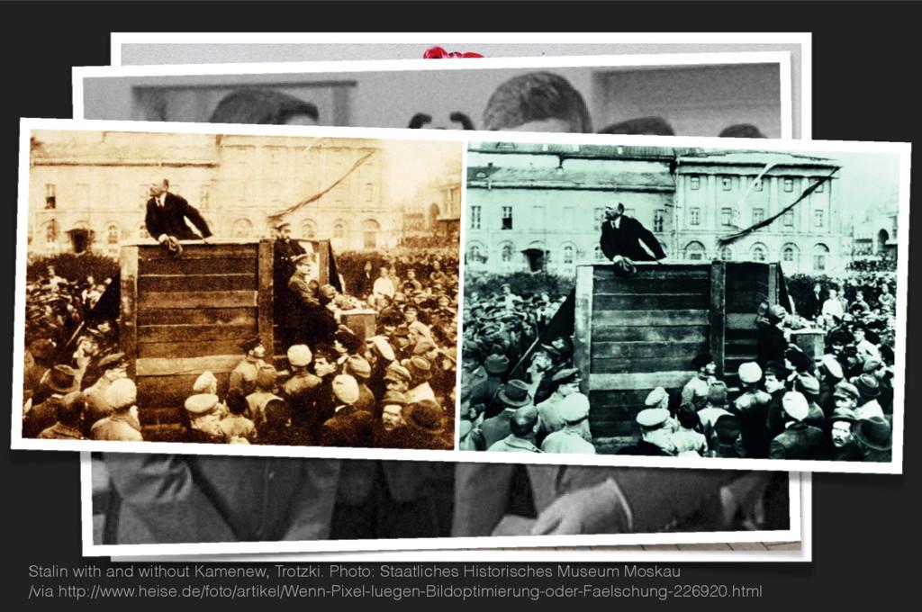 Stalin with and without Kamenew, Trotzki. Photo...