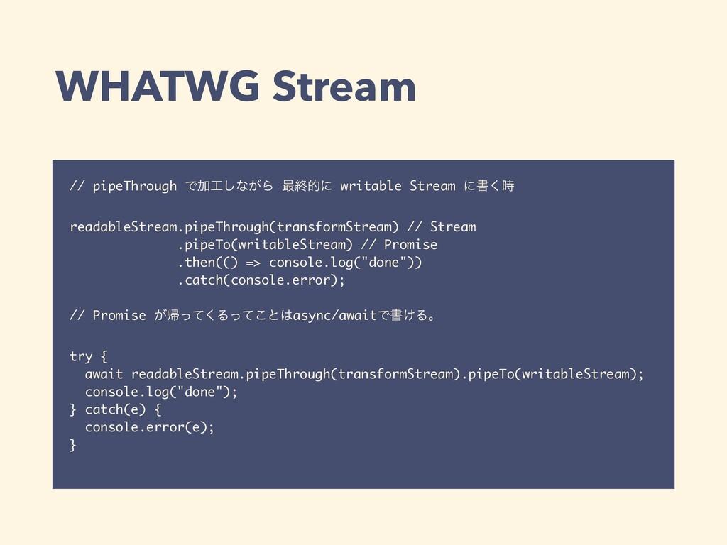 WHATWG Stream // pipeThrough ͰՃ͠ͳ͕Β ࠷ऴతʹ writa...