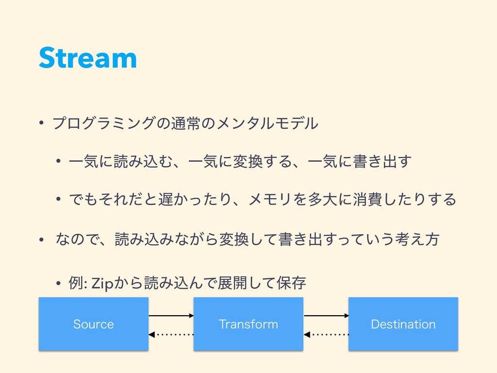 Stream • ϓϩάϥϛϯάͷ௨ৗͷϝϯλϧϞσϧ • ҰؾʹಡΈࠐΉɺҰؾʹม͢ΔɺҰ...