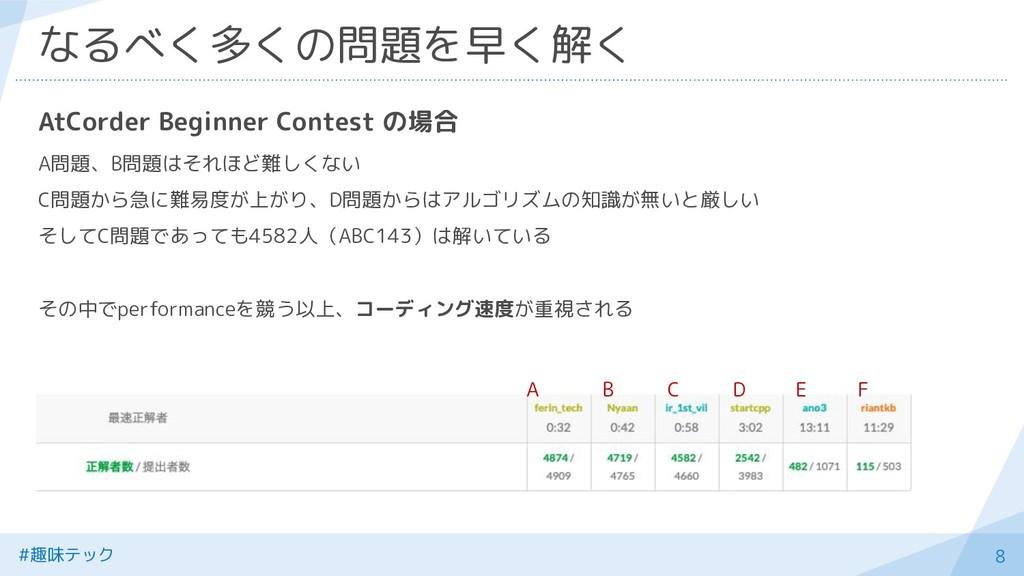#趣味テック 8 なるべく多くの問題を早く解く AtCorder Beginner Conte...