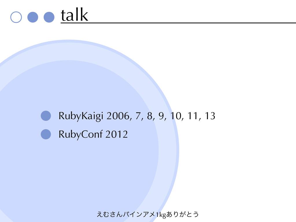 ͑Ή͞ΜύΠϯΞϝ1kg͋Γ͕ͱ͏ talk RubyKaigi 2006, 7, 8, 9,...