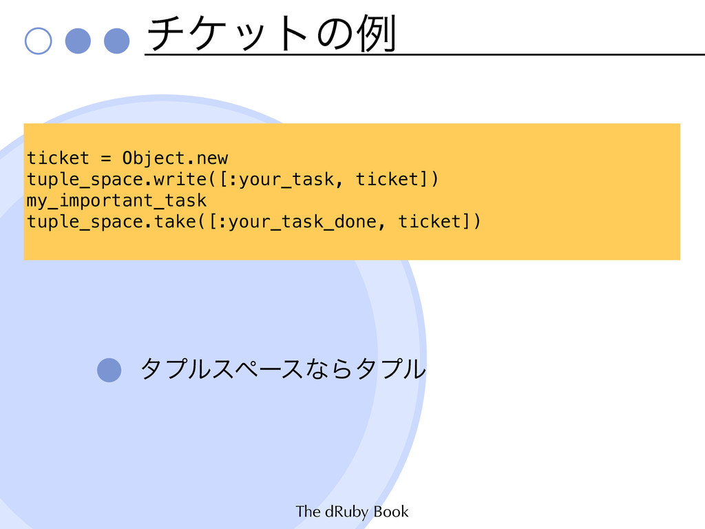 The dRuby Book νέοτͷྫ λϓϧεϖʔεͳΒλϓϧ ticket = Obj...