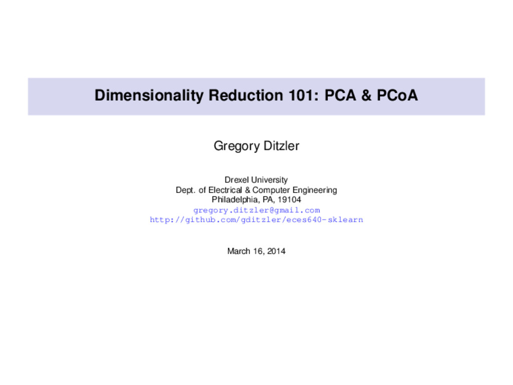 Dimensionality Reduction 101: PCA & PCoA Gregor...