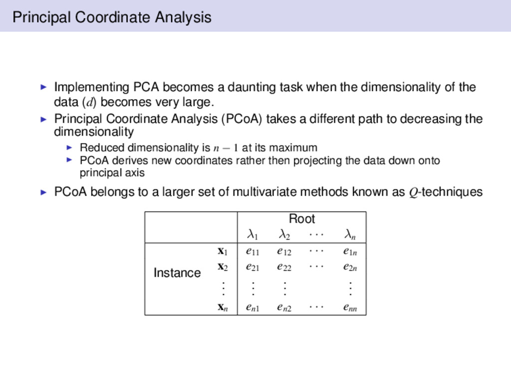 Principal Coordinate Analysis Implementing PCA ...