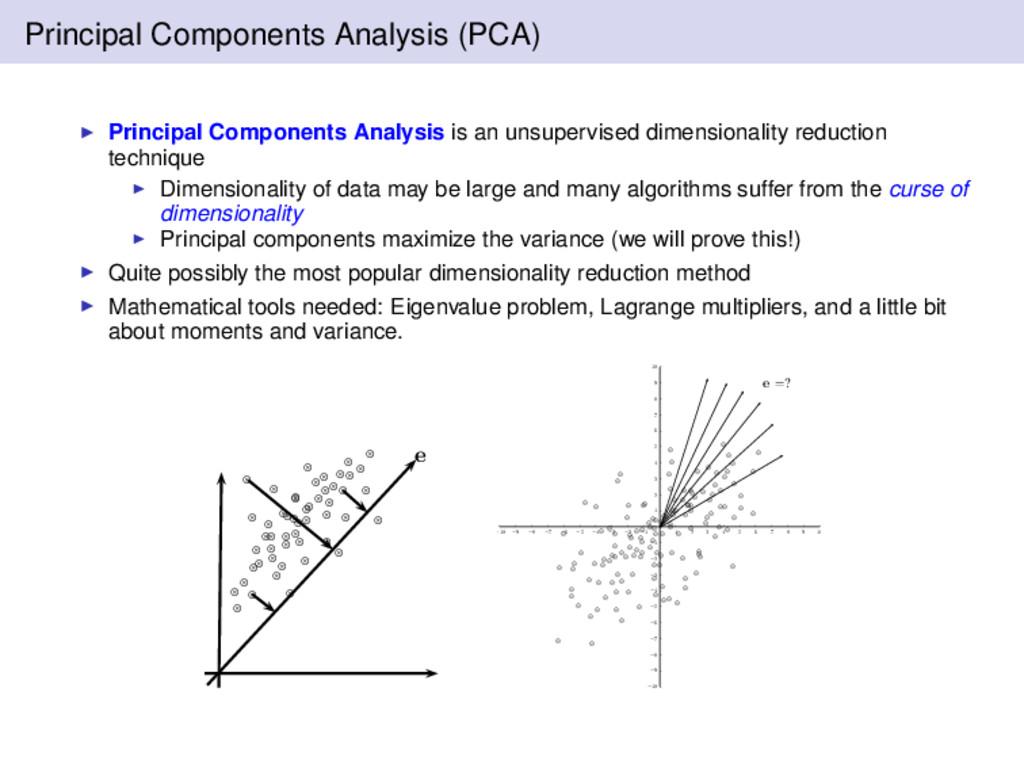Principal Components Analysis (PCA) Principal C...