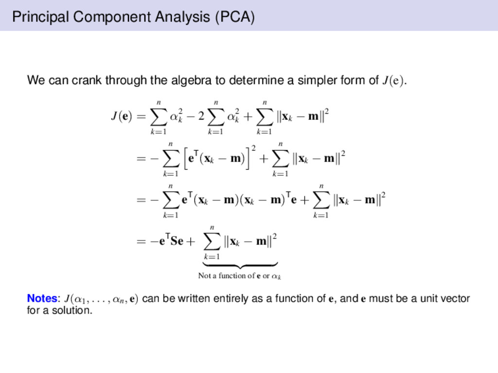 Principal Component Analysis (PCA) We can crank...