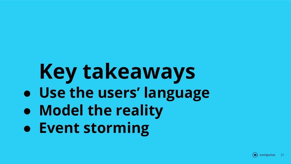 Key takeaways ● Use the users' language ● Model...
