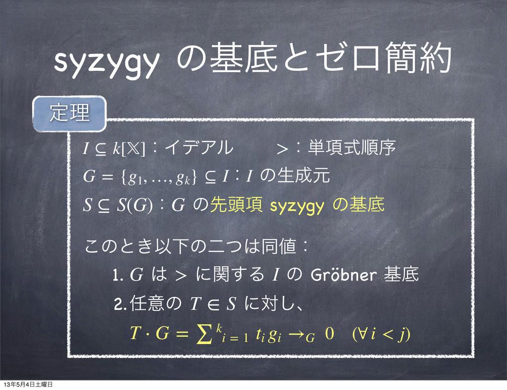 syzygy ͷجఈͱθϩ؆ I⊆k[]ɿΠσΞϧɹɹ>ɿ୯߲ࣜॱং G={g1 ...