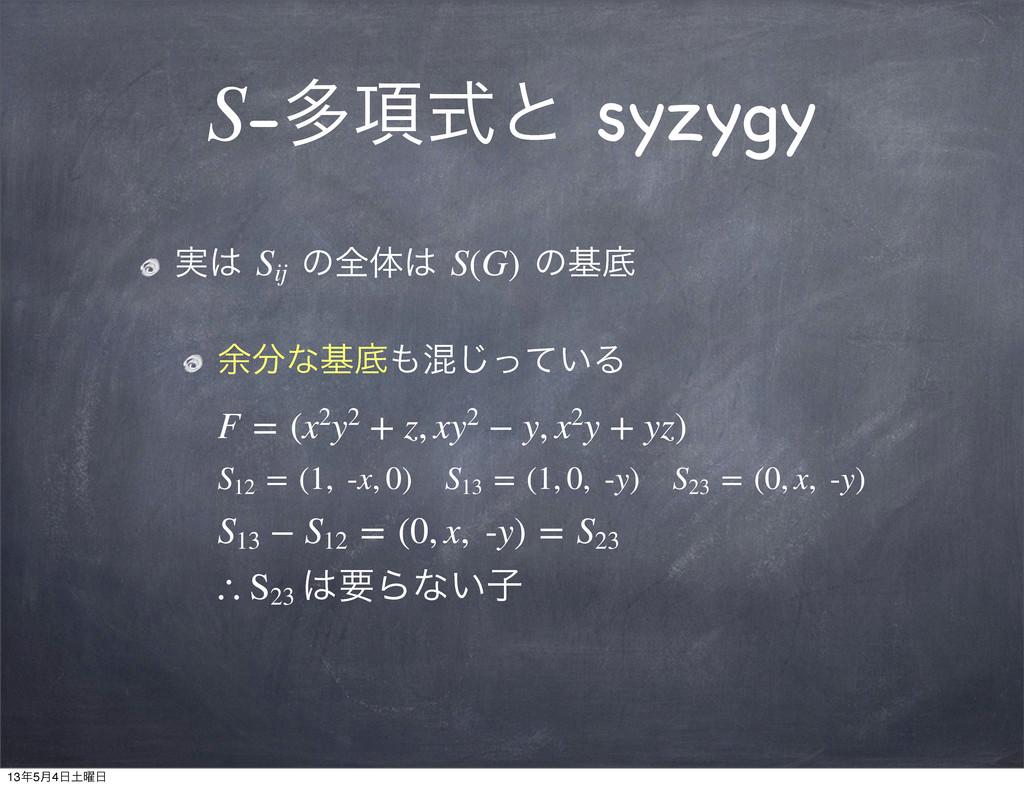 S-ଟ߲ࣜͱ syzygy ࣮ Sij ͷશମ S(G) ͷجఈ ༨ͳجఈ͍ࠞͬͯ͡Δ...