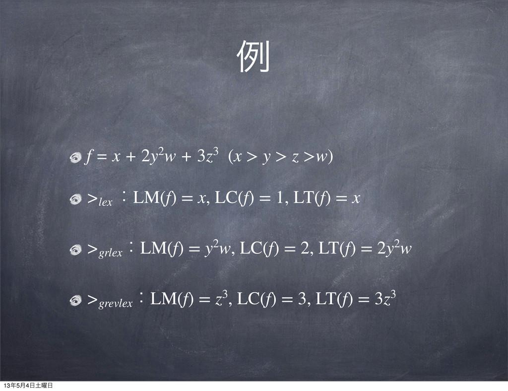 ྫ f = x + 2y2w + 3z3 (x > y > z >w) >lex ɿLM(f)...
