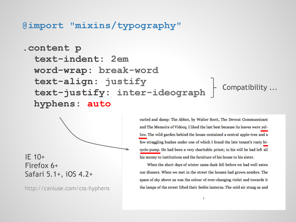 """@import """"mixins/typography"""" .content p text-ind..."""