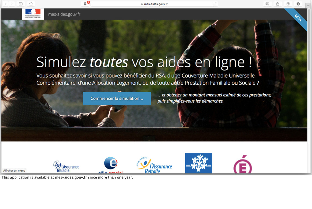 This application is available at mes-aides.gouv...