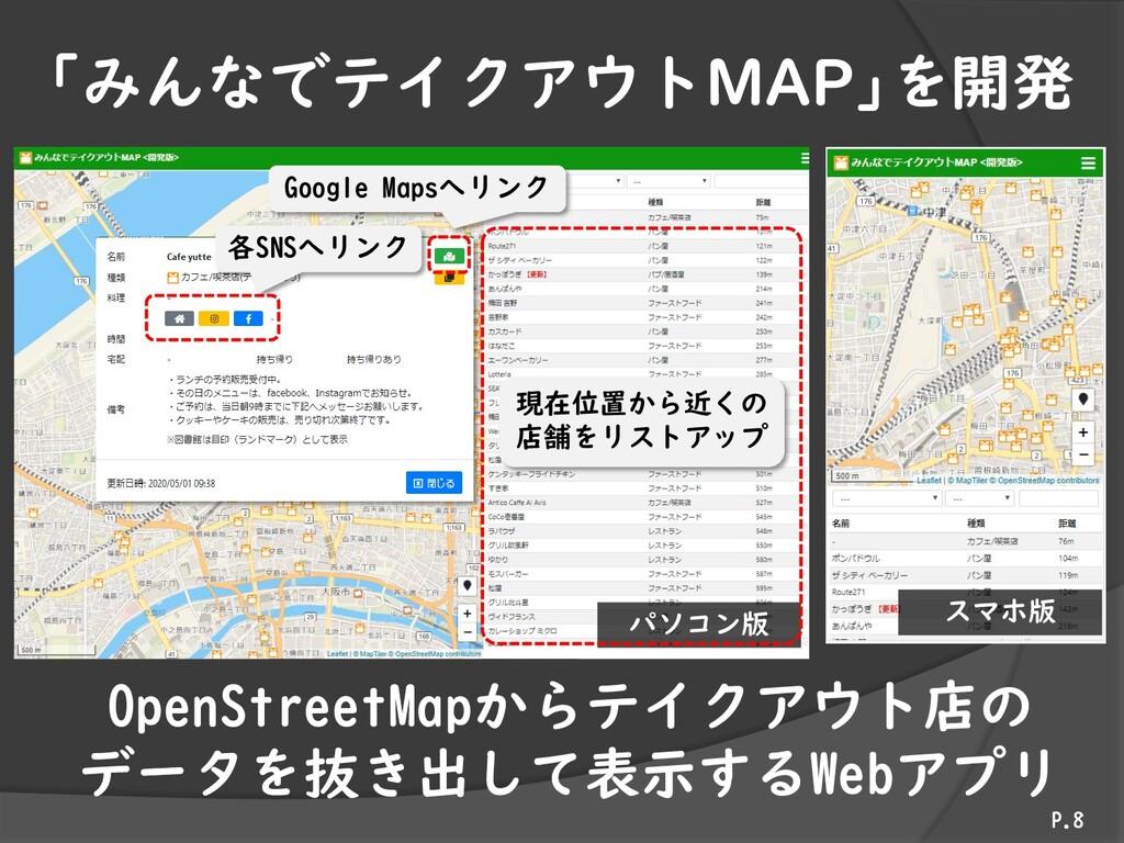 「みんなでテイクアウトMAP」を開発 P.8 OpenStreetMapからテイクアウト店の ...