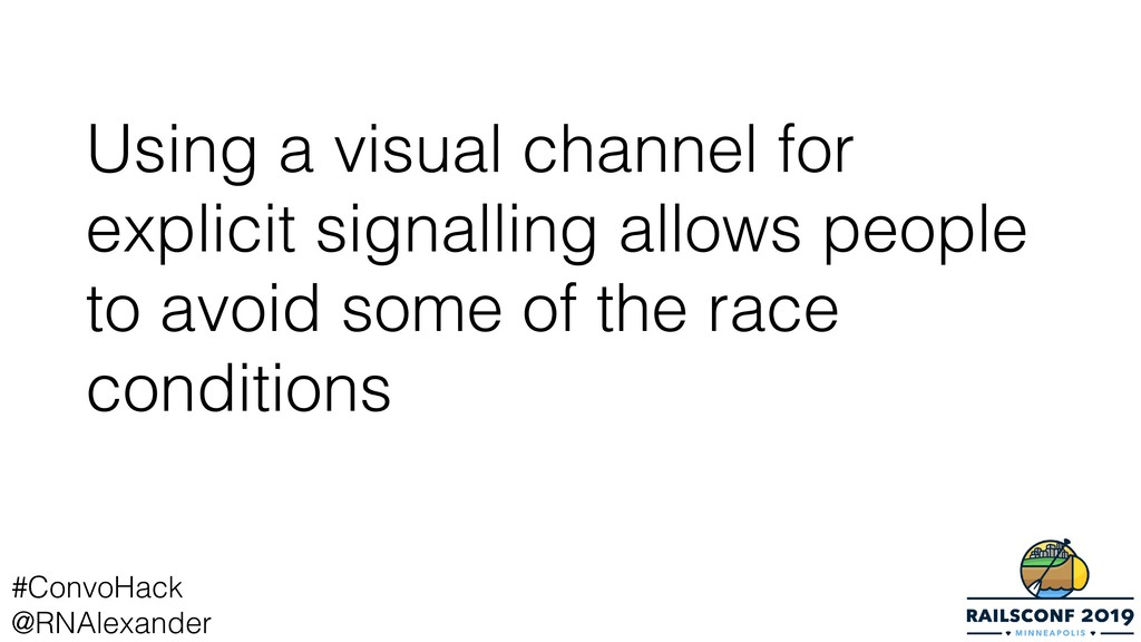 Using a visual channel for explicit signalling ...