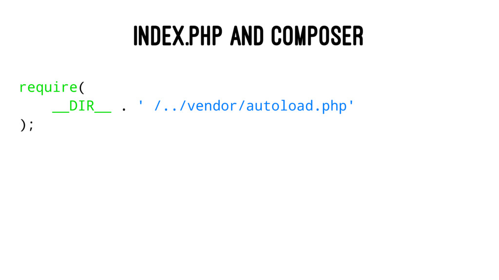 INDEX.PHP AND COMPOSER require( __DIR__ . ' /.....