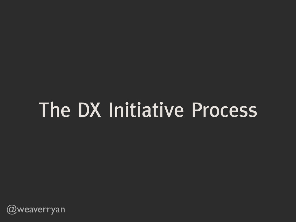 The DX Initiative Process @weaverryan
