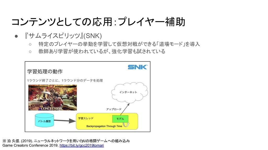 コンテンツとしての応用:プレイヤー補助 ● 『サムライスピリッツ』(SNK) ○ 特定のプレイ...